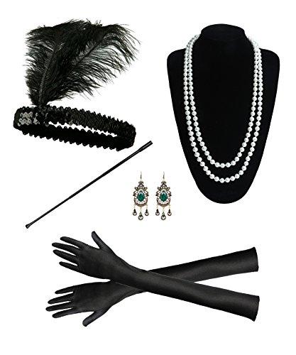 e Zubehör Set Great Gatsby Flapper Kostüm für Frauen Feder Stirnband, Perlenkette, Ohrringe, Lange Handschuhe Zubehör, Schwarz Zigarettenspitze Zubehör (C05) (1920er Jahre Kostüm Mädchen)