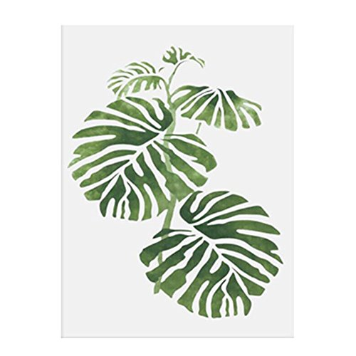 Dekoratives Gemälde, Motiv: Grünes Pflanzenblatt, nordischer Stil, modern, minimalistisch, canvas, 4#, 30cm x 40cm