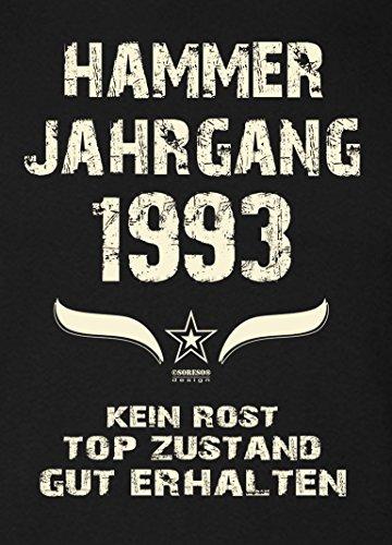 Geschenk zum 23. Geburtstag :-: Geschenkidee Herren Geburtstags-Sprüche-T-Shirt mit Jahreszahl :-: Hammer Jahrgang 1993 :-: Farbe: schwarz Schwarz
