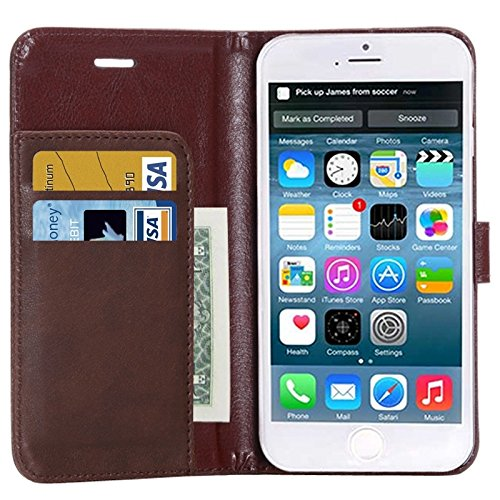 Phone case & Hülle Für IPhone 6 Plus / 6S Plus, Crazy Horse Texture Horizontale Flip Leder Tasche mit Card Slot und Halter ( Color : Brown ) Black