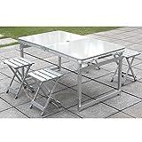 SummerYoung Outdoor Aluminium Zusammenklappbar Camp Koffer Tragbar Faltbar Picknick Tisch mit Stühlen