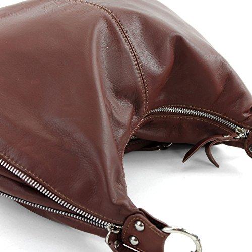modamoda de - ital. Ledertasche Schultertasche Damentasche Umhängetasche Nappaleder T56 Braun