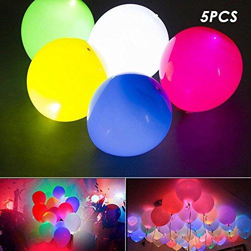 AOLVO LED Luftballons, 5Stück LED-Licht bis Luftballons Glow in The Dark Party Supplies dauert 12–24Stunden Ideal für Partys und Feiern Weihnachten Geburtstage und Hochzeiten Mehrfarbig