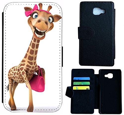 Mobile-edge-pink Handtasche (Hülle Flipcover Schutzhülle Cover Etui Wico Case für (Samsung Galaxy S6 Edge, 1617 Giraffe lustig mit Handtasche Pink))