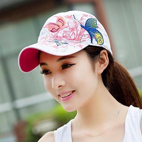 n Baseball Cap Snapback Summer Hats For Women Ladies Embroidery Butterflies Flower Hip Hop Cap Dad Hat Bone Female 2017 [White ] ()