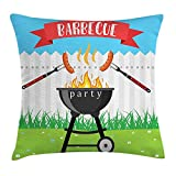 Baozhenzz BBQ Party Throw Pillow Cushion Cover, Kitchen Utensils Roasting Sausage Over The Fire Backyard Cooking Party Theme, Decorative Square Accent Pillow Case, 18 X 18 inches, Multicolor