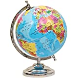 entice selections Globe Of The World - Hand Made Large Size Desktop Rotating Globe Metal Base Stand - 8 Inch