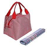 Bolsa de Almuerzo XGUO Almuerzo Fiambrera Oxford Caja de Almuerzo Bolsa de Comida de Rayas Portátil Bolsa para Picnic Trabajo Escuela Lunch Bag con Manija(5L,Rojo)