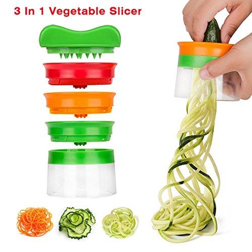 Idefair (TM) Spiral Cutter Hand for Vegetable Spaghetti Potato Premium 3-Blades Vegetable Cutter Filleting Knife Cutter Manual Vegetable Slicer Crusher Slicer For vegetables Fruit vegetable spaghetti spiral cutter