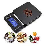 AEVOBAS küchenwaage mit schüssel, Digitale Küchenwaage, Timer Funktion, Digitalwaage, Elektronische Waage, Hohe Präzision auf bis zu 0.1g (3kg Maximalgewicht), 5 Maßeinheiten, mit Gummimatte