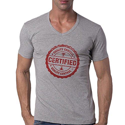 Quality Control Approved Red Stamp Herren V-Neck T-Shirt Grau