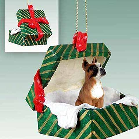 Boxer Christmas Ornament Hanging Gift Box by