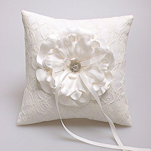 Hochzeit Ringkissen Kissen Träger mit Verzierung mit Blumen 19cm x 19cm