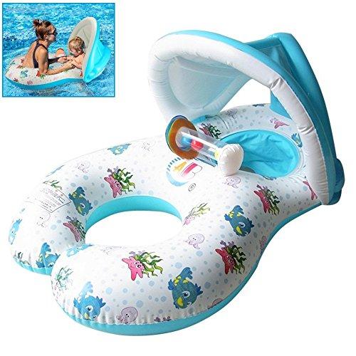 QIN-KEJI Mother & Baby Schwimmbrett mit aufblasbaren Sonnendach Baby Hilfe Sicherheit Pool Boot Spielzeug mit Sonnendach, UV-Schutz (weiß)