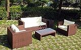 Baidani Garten Rattan Lounge Westside Select, Braun meliert (Creme)