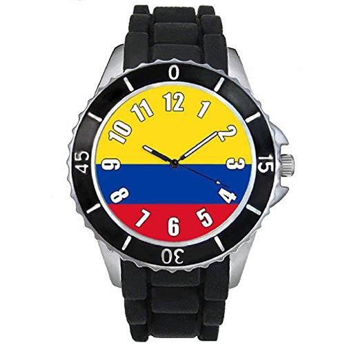 Colombia Reloj unisex con correa de silicona negro