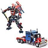 Set di mattoncini da costruzione dei Transformers. Kit 2 in 1 per montare il robot o il camion. 377 pezzi.