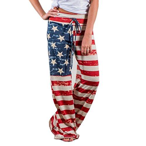 Hosen, Frashing Frauen-amerikanische Flagge Kordelzug breites Bein Hose Leggings Independence Day Flag entspannte Freizeithose Weite Beinhosen (L, Mehrfarbig) (Chiffon Breite Hosen Bein)