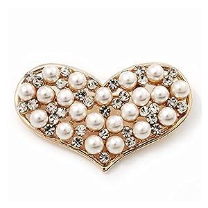 'Brosche Herz' Diamante falschen Perle, vergoldet, Länge 4,5cm