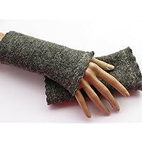 Armstulpen / Pulswärmer aus Walkwolle (Walk, Walkstoff) in dunklem Grau; Zierstich