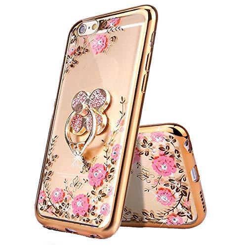 Miagon Glitzer Durchsichtig Transparent Blumen Schmetterling Galvanik Silikon Hülle mit 360 Grad Diamant Ring Ständer Strass Schutzhülle für Huawei Y7 2018