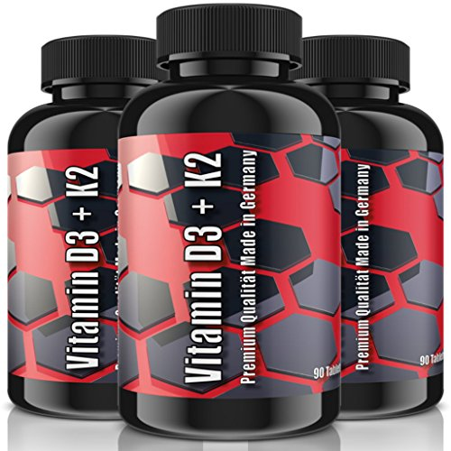VITAMIN D3 + K2 (MK-7) | 5.000 IE + 100 MCG - 270 (3x 90) Tabletten (vegan) | HOCHDOSIERT | Premium Qualität nach ISO & GMP | Für den Knochenstoffwechsel + Muskelfunktion (Tabletten Iu 90)