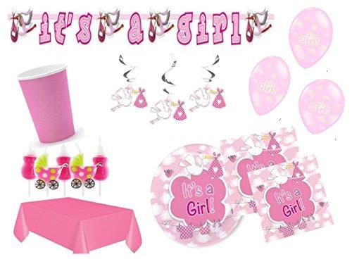 Partydekoset Babyparty Baby Shower Mädchen rosa für 16 Personen 68 teilig Pullerparty Baby Geburt Babyparty Komplettset Tischdeko Party Geschirr