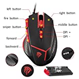 EasySMX Optical Gaming Mouse, 8 DPI 9 Buttons Gaming mice Weight Tuning Set Non-slip Design Ergonomic Game Mouse with 4 Programmed Buttons, LED Light, Fire/Sniper Button for Windows Vista Linux Mac