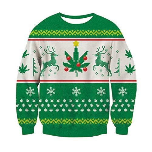 Christmas Sweater, RAISEVERNUnisex Rentier Schneeflocke Design hässlich Weihnachten Xmas Pullover Pullover Sweatshirt für Teen Junior Boys Girls XX-Large (Design Schneeflocken)