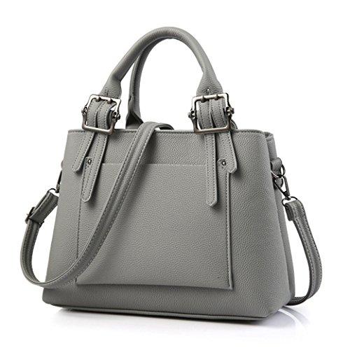 Damen Handtaschen Elegante Modisch Neue PU Leder Umhängetasche für Lady Weibliche Schultertasche Weinrot Dunkel Grau