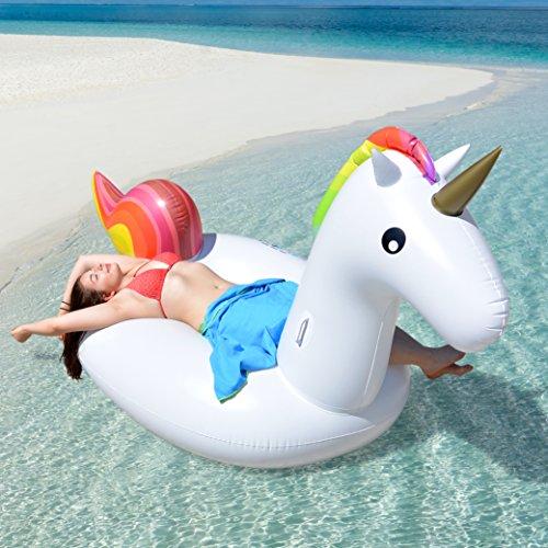 Riesiges aufblasbares Einhorn Schwimmtier, Luftmatratze, Aufblasbar schwimmen Floß PVC Aufblasbarer Schwebebett für 2-3 Personen, Insel für Pool Luftmatratze XXL Wasserspielzeug