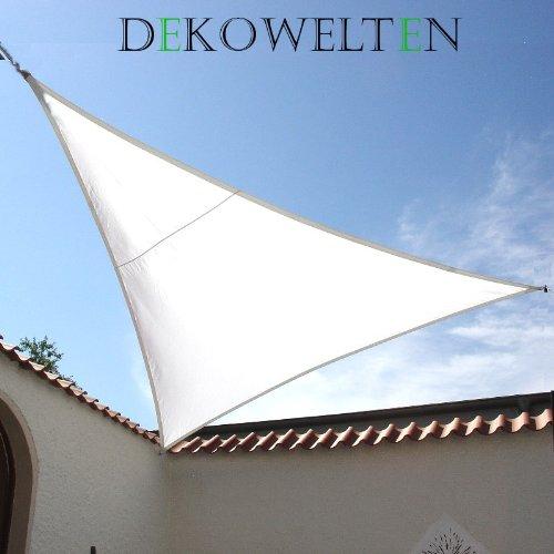 Dekowelten LUXUS Terrassen Sonnensegel dreieck der ExtraKlasse 3,75m wasserdicht weiß Regenschutz von