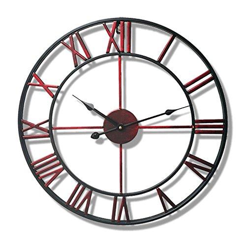 Vinteen orologio da parete in ferro battuto in stile minimalista nordico personalità atmosferica soggiorno in camera da letto orologio horologe e orologi americano arte creativa orologio nostalgico vintage al quarzo silenzioso ( color : red )