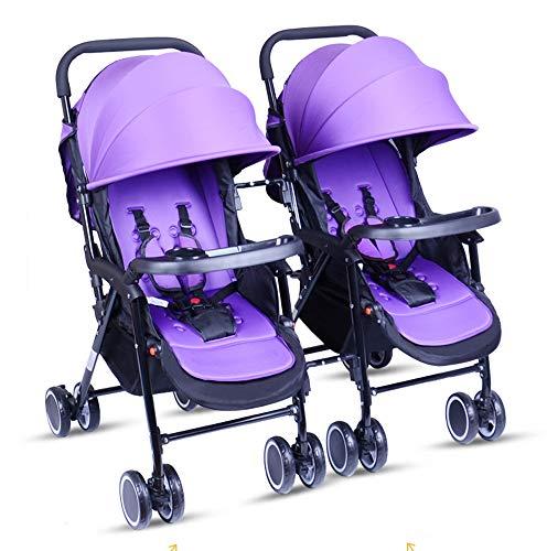 Twin Trittbrett (Unbekannt Tragbare Twin Baby-Zwillinge können sitzen und Sich zurücklehnen. Leichter, zusammenklappbarer, Abnehmbarer, ultraleichter Stoßdämpferwagen,A)
