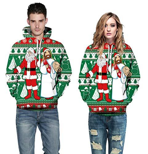Hanomes Damen pullover, Frauen Männer Unisex Paare 3D Weihnachten Santa Print Hoodies Bluse Tops...