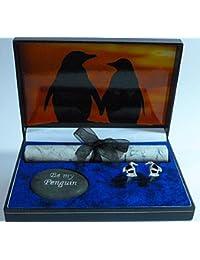 "Gemelos, diseño de pingüino ""Sunset Tryst de la caja de regalo"