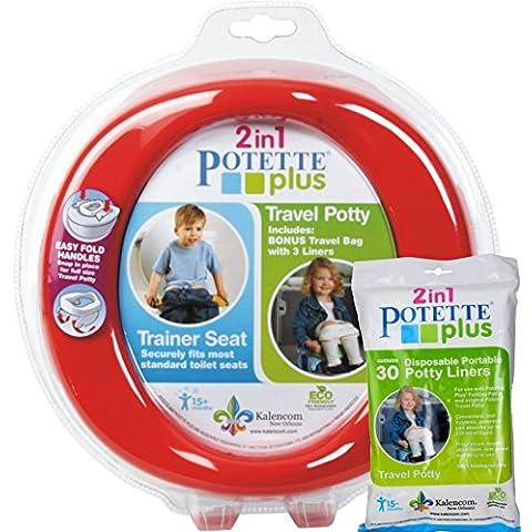 Kalencom–rojo Potette Plus puerto un orinal formación orinal viaje para inodoro asiento 2en 1Bundle con Potette Plus