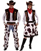 Couples Cowboy & Cowgirl Woody & Jessie Wild West Fancy Dress Costumes Outfits Plus Size & Standard