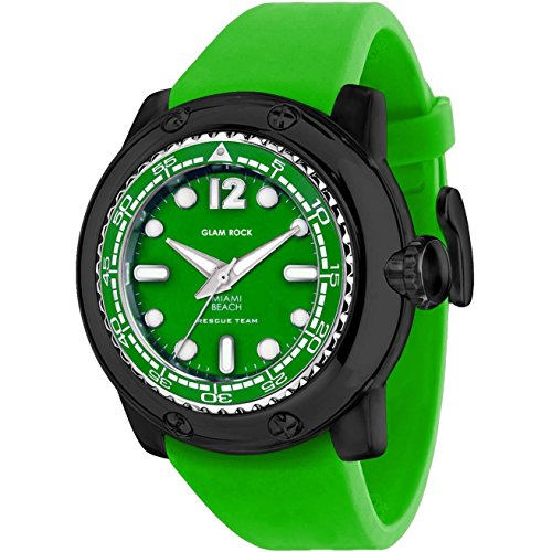 Glam Rock Men's Miami Beach 50mm Green Silicone Band Polycarbonate Case Quartz Analog Watch GR20025