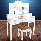 KESSER® Dressing Table Makeup Table Dressing Table Mirror? Drawers? Stool | Mirror | Styling Station | Colour: White