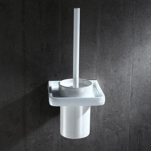 ZHFC Espace aluminium Ensemble de brosses de toilette Continental Salle de bains Pure blanc Porte-brosse à toilette Porte de toilette Brosse de toilette