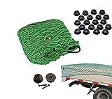 Anhängernetz mit befestigung Rundknöpfen 20 St.inkl Schrauben KFZ Auto Netz von all-around24® (300 x 200cm Grün)