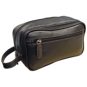 AsdruMark Dark Brown Leather Wash/Toiletry Bag