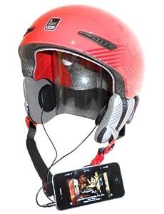 KOKKIA H10 black (SCHWARZE Kabel) Sport- / Motorradhelm-Kopfhörer (Stereo), super Bass und laut - kann an iPods/iPhones/iPads/MP3/CD/Bluetooth-Empfangsgeräte mit 3,5 mm Audio-Buchse angeschlossen werden. Für den normalen wie auch draufgängerischen Helmträgertyp, Extremsportler, Skifahrer, Snowboarder usw.