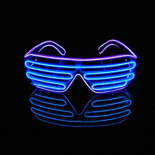 Lerway Weißen Rahmen 2 Farbe EL Wire Leuchtbrille LED Drahtbrille Brillen + Voice Control Box für Weihnachten Tanzen Party Nacht Pub Bar Klub Rave (blau + - Klasse Die Halloween-spiele 2. Für