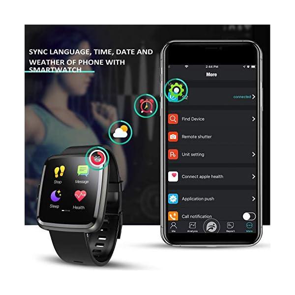 Hommie Smartwatch, S2 Reloj Inteligente con Pantalla Táctil Completa, Pulsera Actividad Inteligente ImpermeableIP67 con… 6