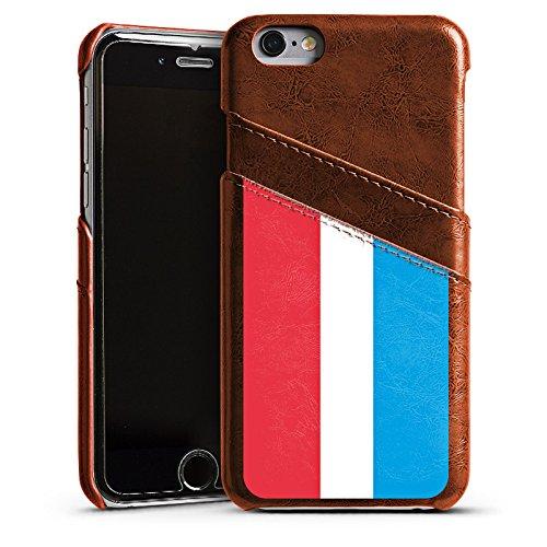 Apple iPhone 4 Housse Étui Silicone Coque Protection Luxembourg Drapeau Drapeau Étui en cuir marron