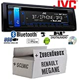 Renault Megane & Scenic 2 - JVC KD-DB98BT - Bluetooth | DAB+ | CD | MP3 | USB | Android | iPhone Autoradio - Einbauset
