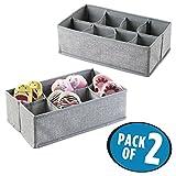 mDesign 2er-Set Stoffbox für Schrank oder Schublade, je 8 Fächer – die ideale Aufbewahrungsbox (Stoff) für das Kinderzimmer – flexibel verwendbare Stoffkiste z. B. für Wäsche und Accessoires – grau