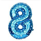 Number Foil Balloons 8 - Blue, Foil Ball...